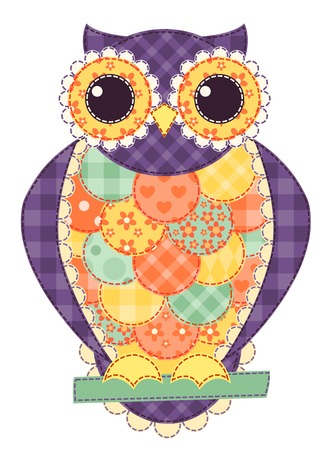 Colored isolated patchwork owl. Vector quilt illustration. Vector