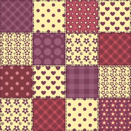 Seamless patchwork claret color pattern. Vector background.