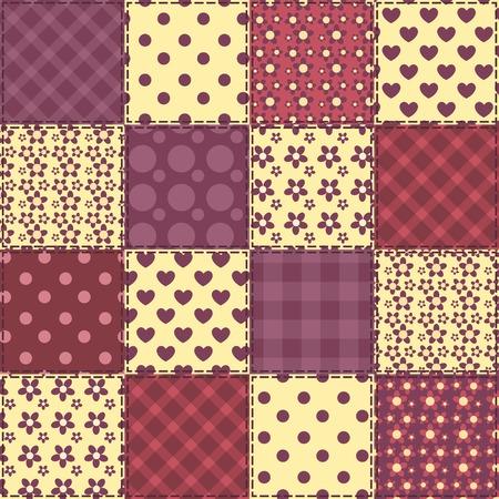 claret: Seamless patchwork claret color pattern. Vector background.