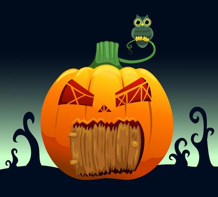 Landscape with pumpkin house. Cartoon vector illustration. Vector