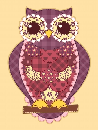 Purple patchwork owl. Vector quilt illustration. Vector