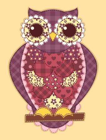 symbol people: Purple patchwork owl. Vector quilt illustration. Illustration
