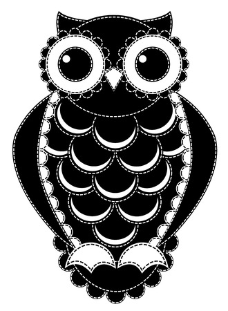 Silhouette patchwork owl. Isolated on white. Vector illustration. Vector
