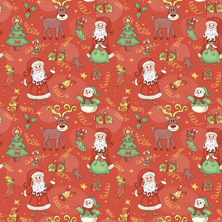 red animal: Red holiday seamless pattern. Christmas background. Vector.