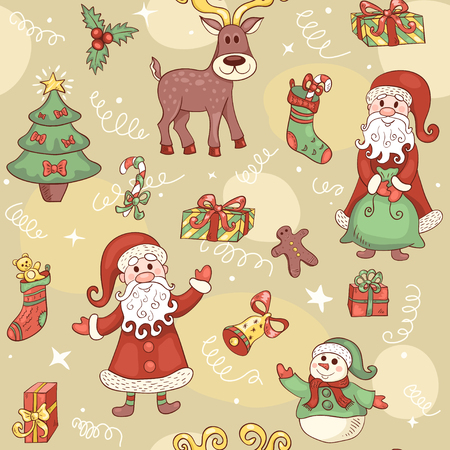 red animal: Holiday seamless pattern. Christmas cute background. Vector.
