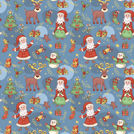 red animal: Blue holiday seamless pattern. Christmas background. Vector.