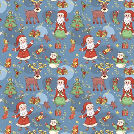 pr�sentieren: Blue Urlaub nahtlose Muster. Weihnachten Hintergrund. Vector.