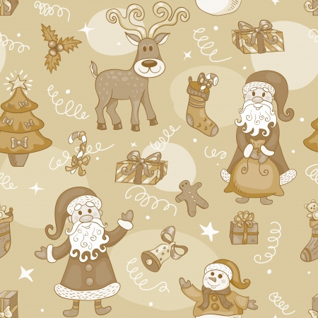 wrapping animal: Sepia holiday seamless pattern. Christmas background. Vector. Illustration
