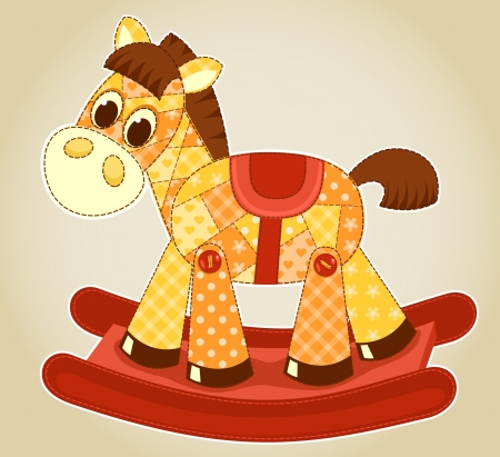 blanket horse: Application rocking horse. Vector cartoon illustration for children. Illustration