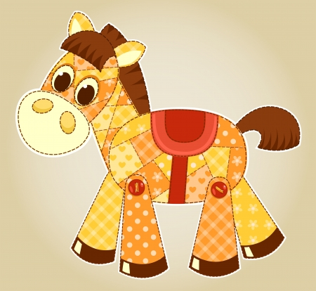 patchwork: Application horse toy. Cildren vector illustration.