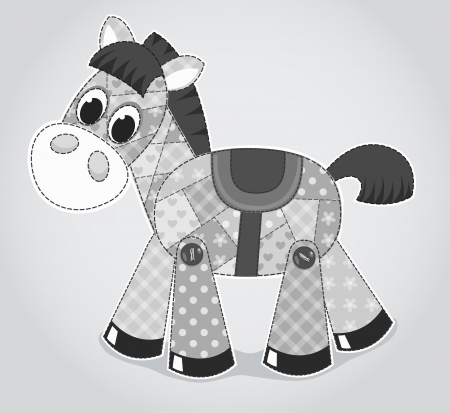 homespun: Juguete viejo caballo. Ilustraci�n vectorial de dibujos animados para los ni�os.