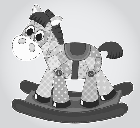 Old rocking horse. Vector cartoon illustration for children. Vector