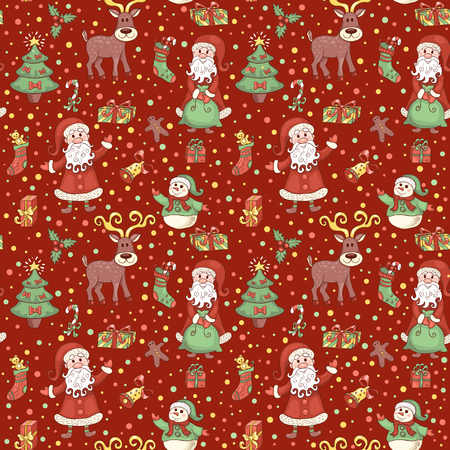 Red christmas pattern with confetti. Vector seamless cartoon background. Vector