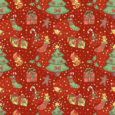 Christmas pattern with confetti. Vector seamless cartoon background. Vector