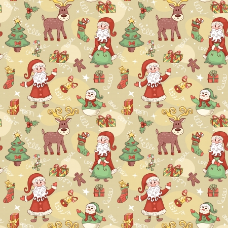 december background: Holiday seamless pattern with santa. Christmas background. Vector.