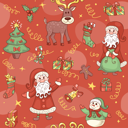 Red christmas seamless pattern. Christmas background. Vector. Vector
