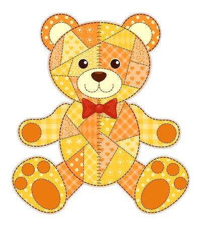 Demande ours heureux. Isolé sur fond blanc. enfants vectorielle patchwork illustration. Vecteurs