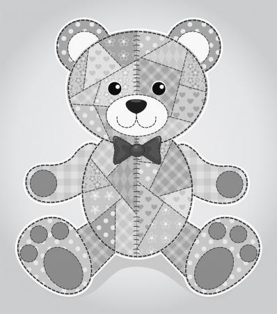 Vector children: Cũ gấu đồ chơi. trẻ em Vector chắp vá minh họa.