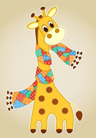 Giraffe in a scarf. Application for children. Vector illustration. Illustration