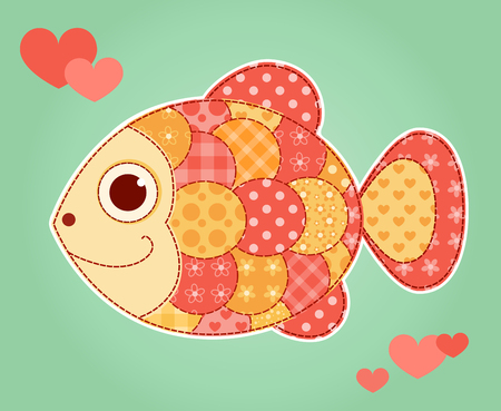 Application fish card. Children vector illustration.
