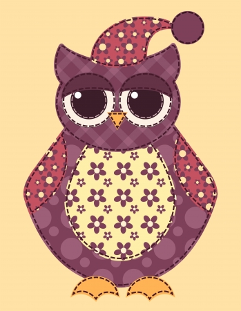 Application owl. Cartoon patchwork illustration for a scrapbooking. Vector. Vector