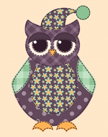 Application owl. Cartoon patchwork illustration for a scrapbooking. Vector.
