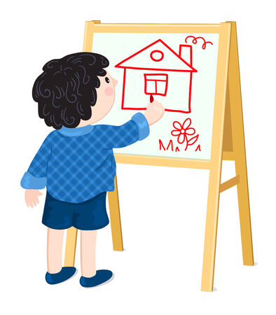 The boy drawing the house on an easel. Vector cartoon illustration. Vector