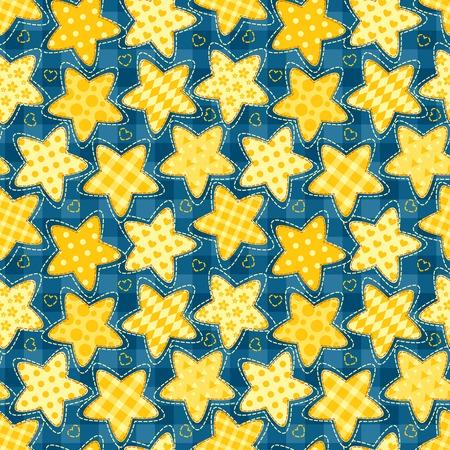 homespun: Ni�os sin costura patr�n de estrellas. Resumen de vectores de dibujos animados.