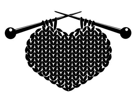 Silhouette of knitting heart. Vector illustration. Isolated on white.