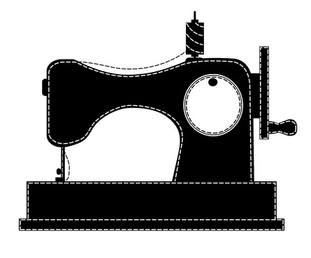 Silhouette of the sewing machine. Vector illustration. Isolated on white. Çizim