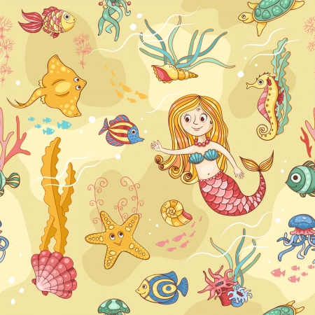 Yellow seamless pattern with mermaid. Cartoon vector background. Vector