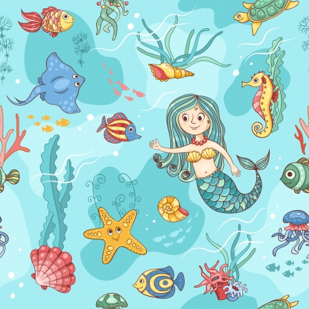 Blue seamless pattern with mermaid. Cartoon vector background. Vector