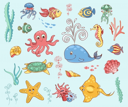 Set of underwater animals. Vector cartoon illustration. Vector