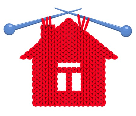 spokes: The house knitted on spokes. Vector illustration.