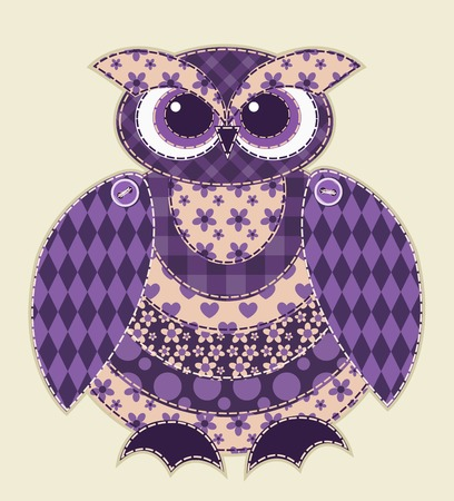 Violet patchwork owl. Cartoon vector quilt illustration. Vector