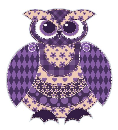 Red patchwork owl. Cartoon vector quilt illustration. Isolated on white. Vector