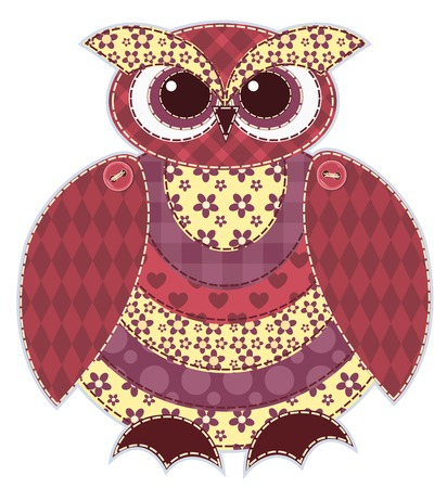 Red patchwork owl. Cartoon vector quilt illustration. Isolated on white.