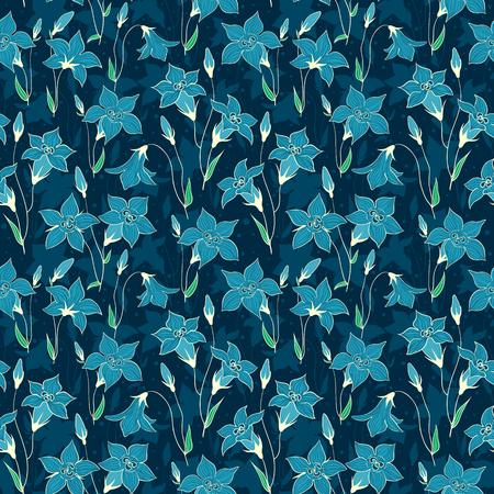 bluebell: Beautiful wild bluebell flowers seamless pattern. Vector cartoon background.