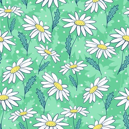 Beautiful camomile flowers seamless pattern. Vector cartoon background. Illustration