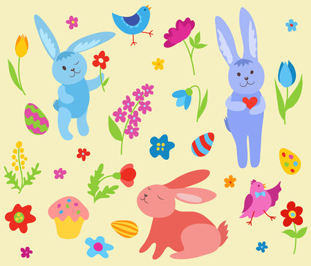 Set of cute Easter rabbits. Vector cartoon illustration. Vector