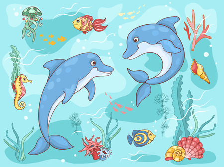 Two dolphins in the sea. Vector cartoon illustration.