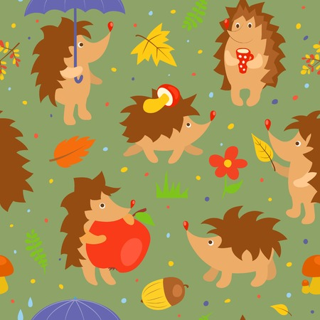 Set of simple cute hedgehogs. Vector cartoon illustration. Vector