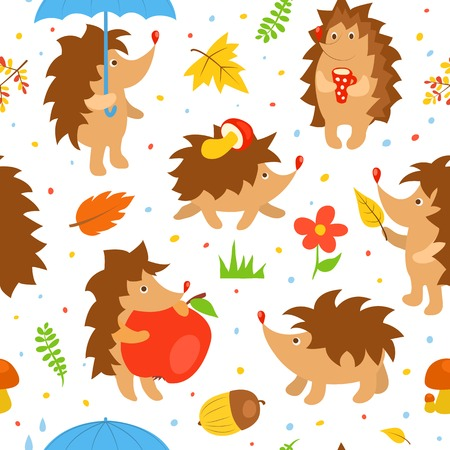 Seamless pattern with simple cute hedgehogs. Vector cartoon illustration. Vector