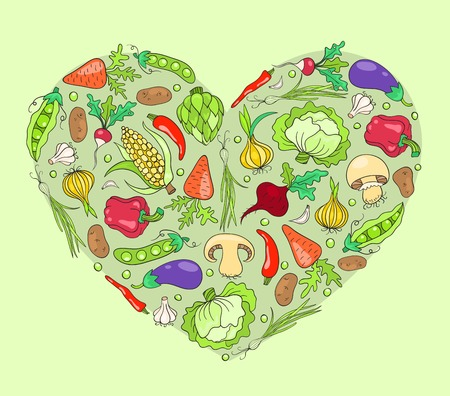 Heart from vegetables. Vector sketch cartoon illustration. Vector
