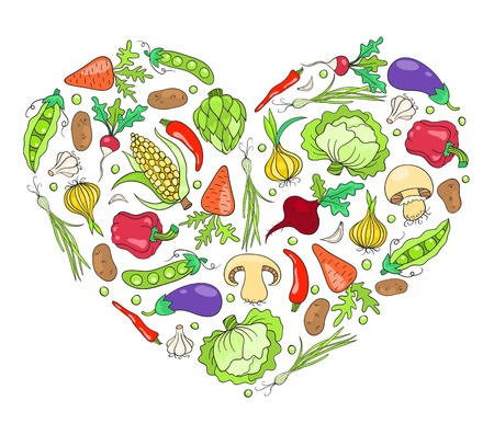 Heart from vegetables. Isolated on white. Vector cartoon illustration. Vector