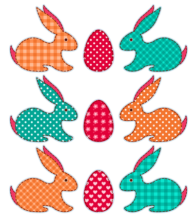 Set of application Easter rabbits. Vector cartoon illustration. Vector