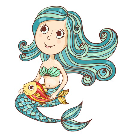 Mermaid with fish isolated on white. Vector cartoon illustration. Vector