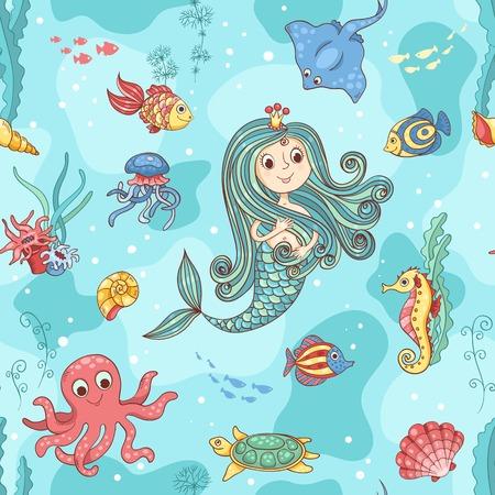 Seamless pattern with mermaid princess. Vector cartoon illustration.