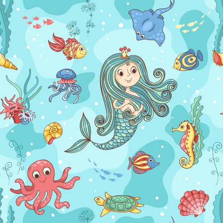 Seamless pattern with mermaid princess. Vector cartoon illustration.