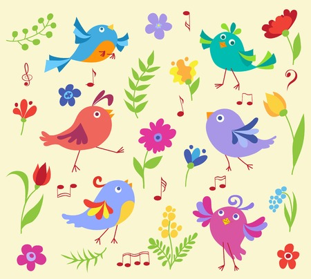 Set of cute spring musical birds. Vector cartoon illustration. Vector